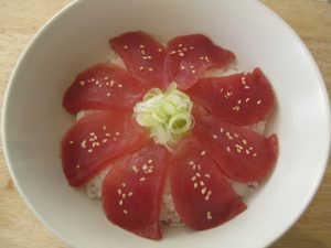 Japanese donburi with tuna